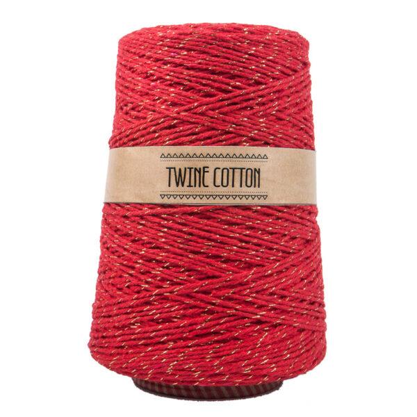 Twine Cotton Metalizado - Vermelho/Dourado