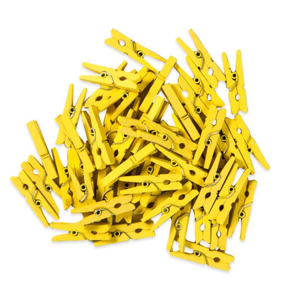 Mini Pregador de Madeira Amarelo