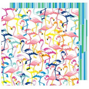 papel scrap flamingos