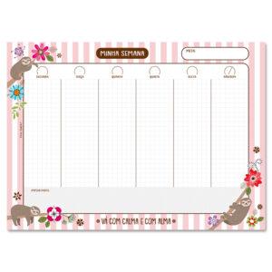 planner mensal bicho preguiça
