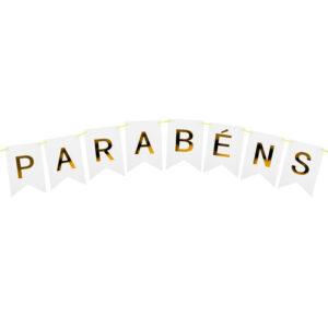 BANDEIROLA PARABÉNS - BRANCO É PIQUE