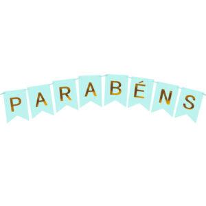 BANDEIROLA PARABÉNS - AZUL CONFETE