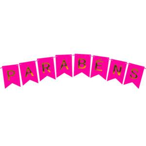 BANDEIROLA PARABÉNS - ROSA FESTIVO